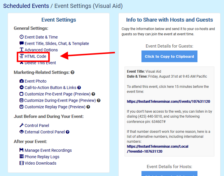 How to Publish Your Events and Replays On Your Website